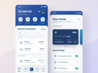 Finance App Visual Exploration credit card uiux light clean bank banking icon design crypto transaction card atm mobile ui wallet finance management money budget ios ui dashboard