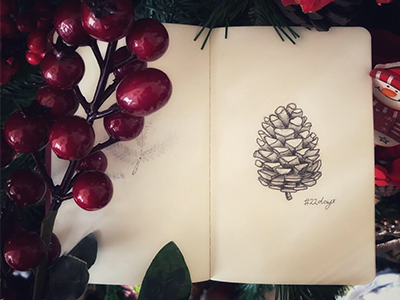 22 days winter sketch pinecone noel joy instasketch holidayseason doodle decoration besttimeoftheyear art 25daystillchristmas