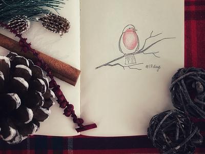 18 days winter sketch bird noel joy holidayseason doodle decoration besttimeoftheyear art 18daystillchristmas