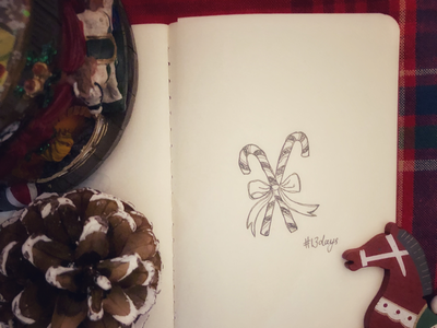13 days winter sketch noel candy canes joy holidayseason doodle decoration besttimeoftheyear art 13daystillchristmas