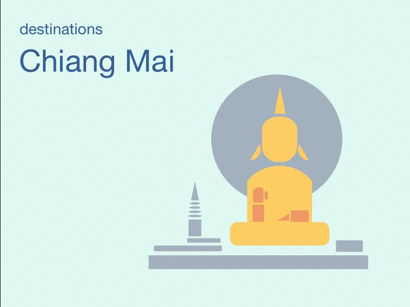 City Illustrations - Chiangmai budda landmark pattern travel thailand chiang mai asia asian city