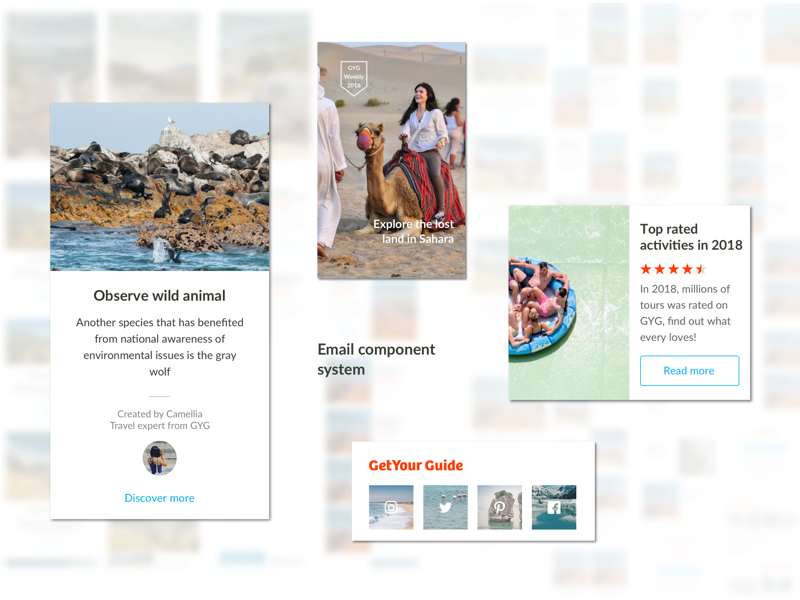 Email Component System travel design library components design email