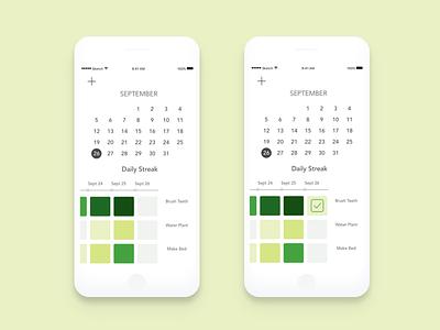 Daily Commit Streak commit product design mobile calendar uxui self care habits ios github