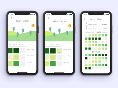 Streaks -- Habit Tracking calendar productivity mobile ux product designer uiux ios habit tracking todo list habits git commit github