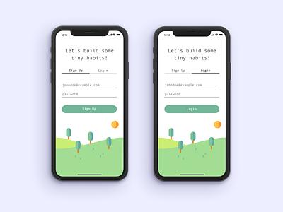 Streaks Login mobile ux mobile app landscape calendar commit github habits productivity product design login uiux ios