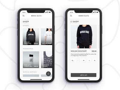 Boba Guys App Concept -- Part 2 fashion shop app ecommerce milk tea food and drink product design ui ux food app restaurant app tea coffee boba ios mobile design mobile app