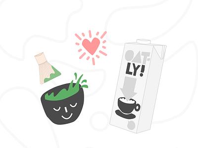 Boba Guys x Oatly Concept Illustration yum blobs print graphic tshirt design tea brand food and drink boba milk tea barista coffee oat milk green tea matcha illustration oatly boba guys