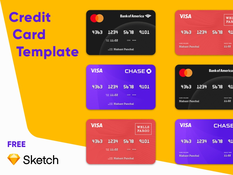 Credit Card Template Freebie freebie credit card free design visual design vector illustration