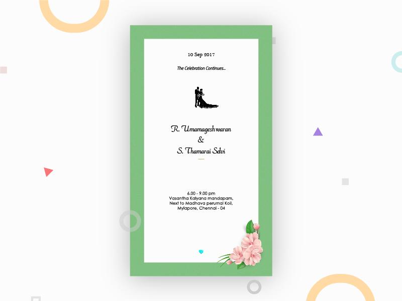 Post Marriage Reception Invitation Card By Sundar Raj On