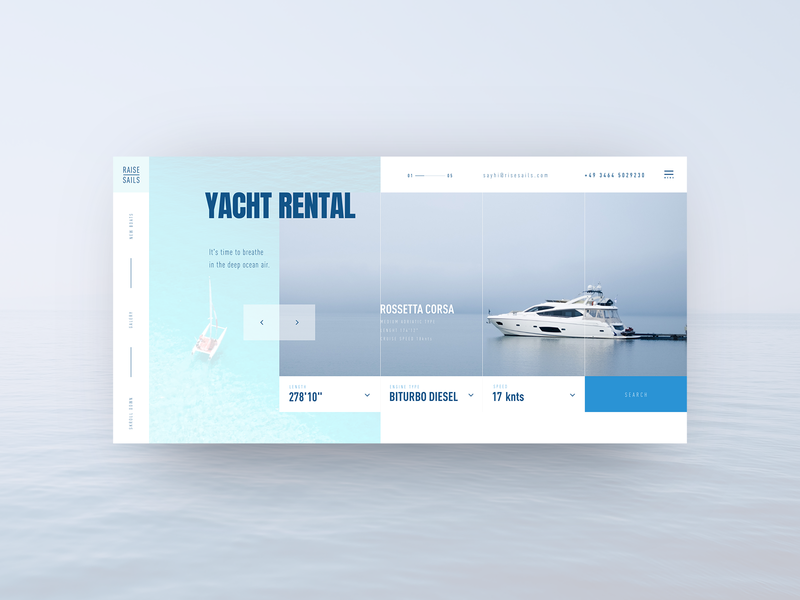 Yacht Rental concept sea blue and white rental ocean yacht club yachting yacht main page main typography minimal flat web branding website ux ui