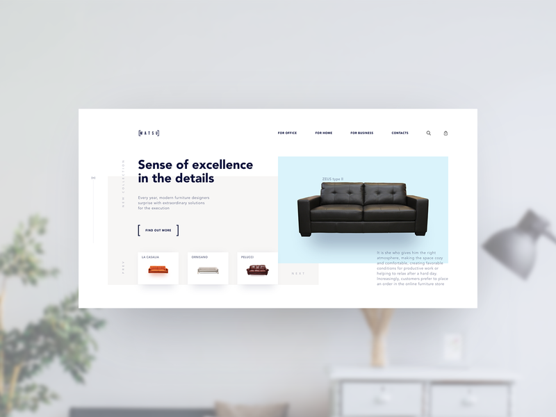 Matsu Boutique concept blue and white main page main minimal flat web website branding ux ui ecommerce sofa boutique