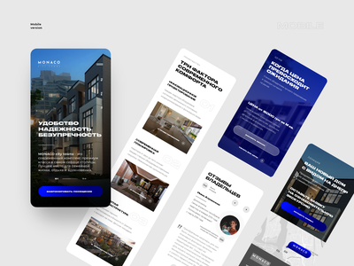 MONACO II  (Mobile Version) mobile ui mobile web website design web design ui  ux ui landing page landing main page design ux typography blue and white