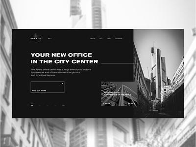 APELLA APARTMENTS black ui design flat ux web main page minimal website ui construction building office apartments
