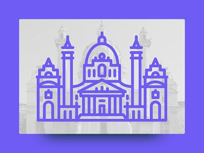 Karlskirche, Vienna geometric cute architecture landmark illustration line icon