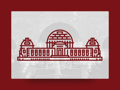 Griffith Observatory Los Angeles, CA griffith los angeles la observatory line landmark illustration icon geometric cute architecture