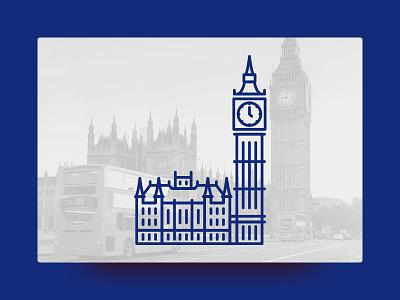 Big Ben, London little line landmark illustration icon geometric cute architecture