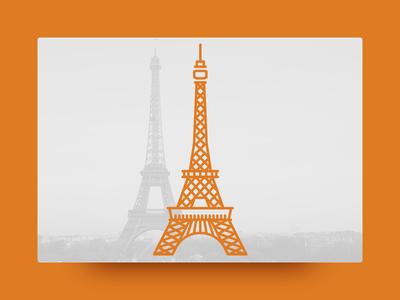 Eiffel Tower, Paris eiffel tower paris little line landmark illustration icon geometric cute architecture