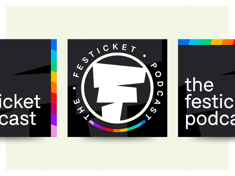 Festicket Podcast simple geometric vector icon typography variant podcasting bolton digital rainbow festival app podcast cover podcast logo podcast