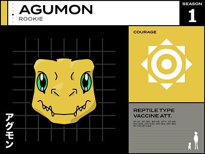 Agumon card infographic anime cartoon cartoon character digimon digital vector