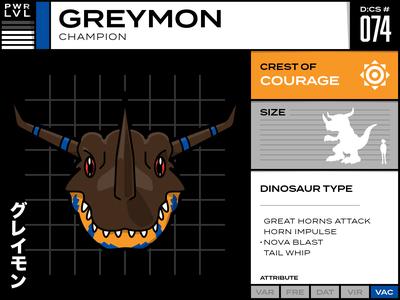 074 Greymon infographic digimon cartoon character cartoon card anime design vector illustration typography
