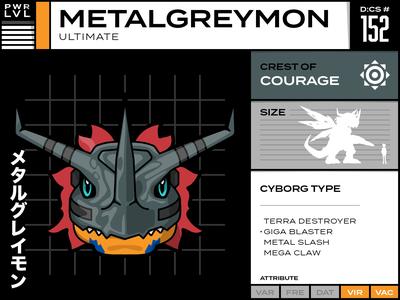 152 Metalgreymon vector typography infographic illustration digimon design cartoon character cartoon card anime