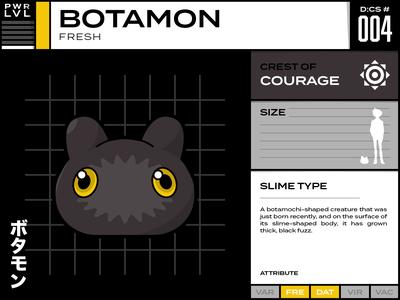 004 Botamon vector typography infographic line art illustration digimon character design design cartoon character cartoon card anime