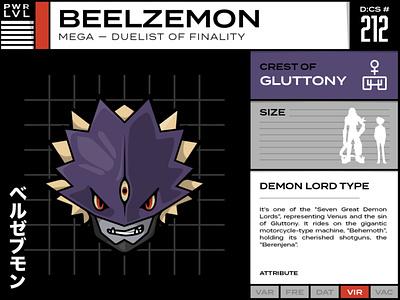 212 Beelzemon vector typography line art illustration character design design character cartoon character cartoon card anime