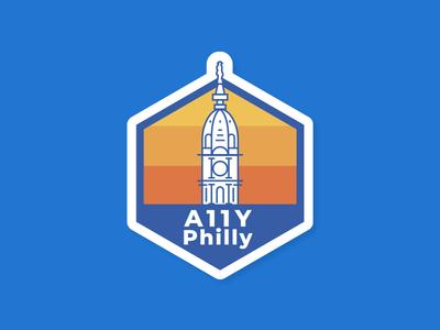 A11Y Philly sticker design meetup sticker accessibility a11y data philadelphia