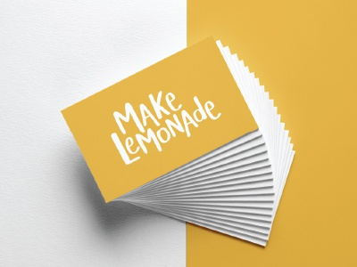 Make Lemonade  branding yellow lemonade handwritten logo logo design