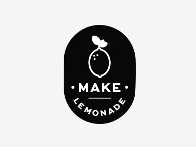 Make Lemonade  secondary logo white black branding lemon logo design