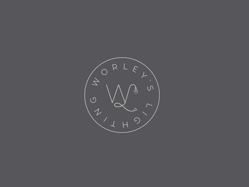 Worley's Lighting modern minimal icon typography logo mark logo branding