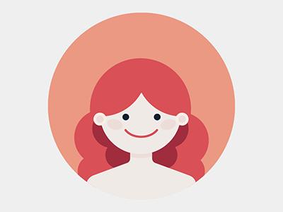 girl redhead ginger girl flat illustration