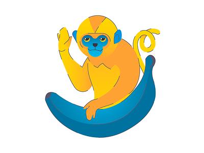 monkey banana monkey illustration flat