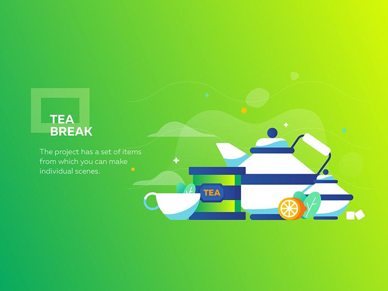 Tea break cup flat tea