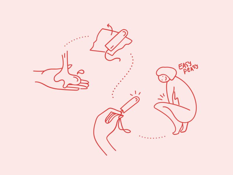 illustration, package insert womens health infographic how to girls female illustration line