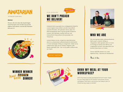 Webdesign for plantbased meals infographic collages branding illustrations website design section webdesign