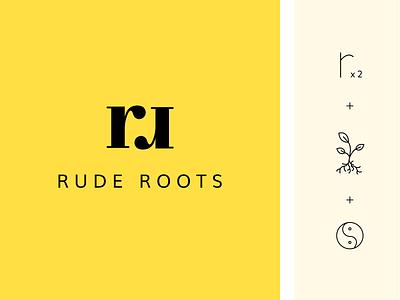 rude roots brand logo ginger branding logo design yinyang yellow root design letter symbol monogram logo