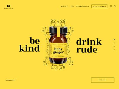 itchy ginger landingpage hero labeldesign website concept product design website design hero yellow juice onlineshop rude roots gingershot ginger product landingpage website