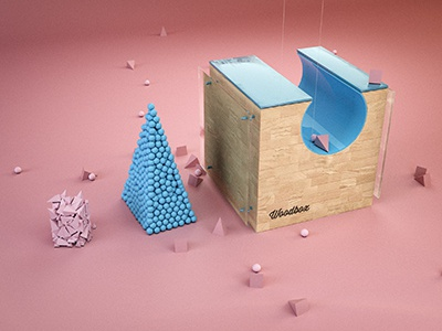 Woodbox c4d octane render 3d box illustration