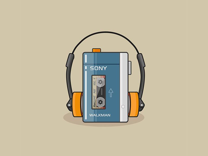 Walkman vector illustration icon old school guardians of the galaxy music walkman flat design icondesign