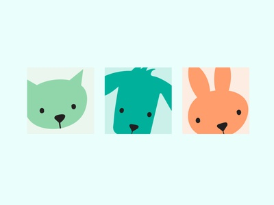 Daphne Animal Hospital Icons vet icons icons faces muted colors bunny dog cat illustration veterinarian