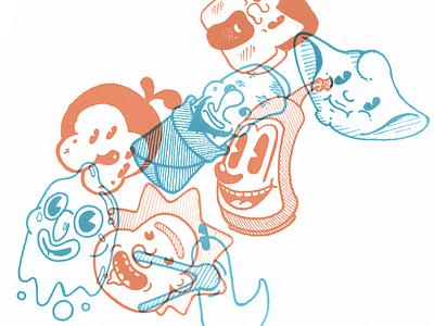Retro toons clean print handdrawn sketch character toon cartoon vintage retro illustration