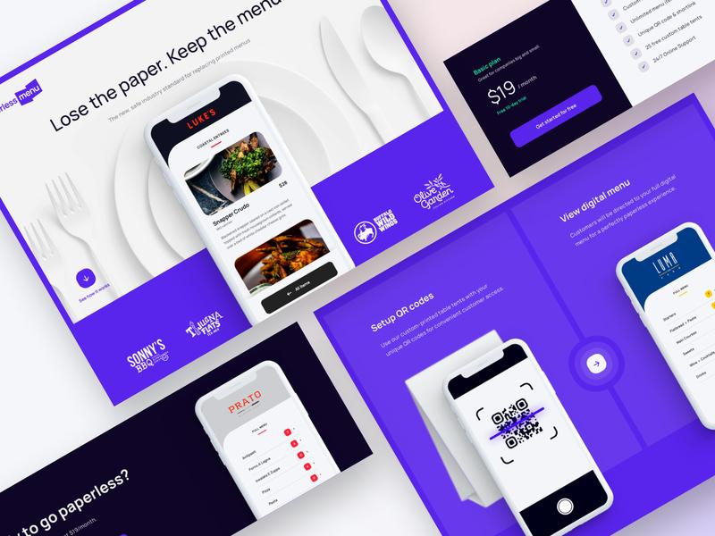 Paperless Menu Website website interface food menu web ux ui