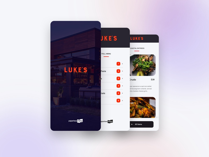 Paperless Menu App ordering menu food interface mobile app web ux ui