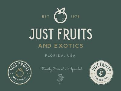 Just Fruits & Exotics Branding vintage fruit lockup badge system logo branding