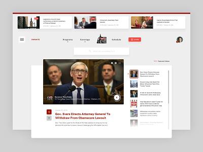 WisconsinEye Homepage UI masthead politics news live video player ux website interface design ui