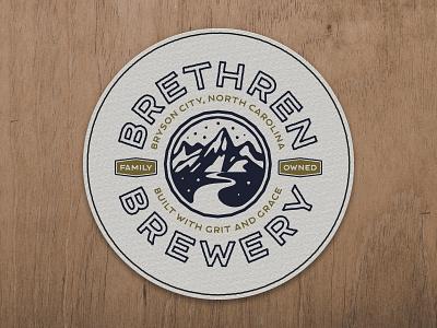 Brethren Brewery north carolina mountain illustration design drink logo coaster beer brewery branding