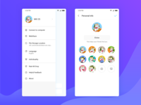 Mi Drop Side menu and Personal information