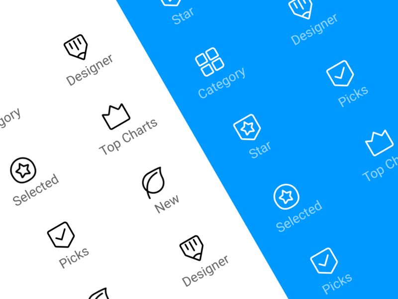 Mi Themes Icon collection top charts selected star designer pick logo app design ui icon