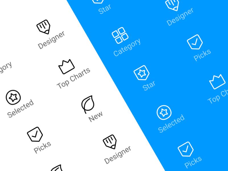 Mi Themes Icon collection top charts selected star designer pick logo app design ui icon